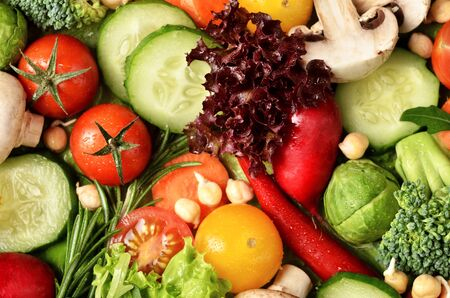 mixed vegetables: Fresh vegetables with water drops