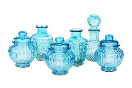 Niebieskie szkło ustawić wzorkiem samodzielnie na białym tle Zdjęcie Seryjne
