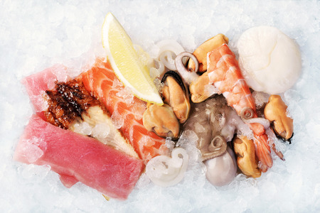 crushed ice: Seafood on crushed ice as a background Stock Photo