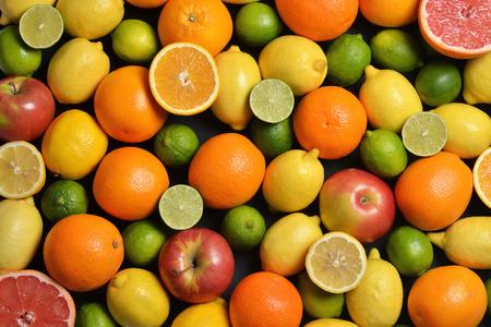 新鮮な柑橘系の果物。平面図です。