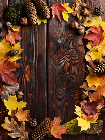The frame of autumn leaves on wooden background with copy space. Top view. 免版税图像