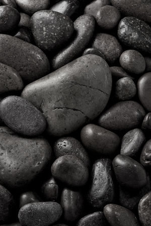 Black stone background. Top view.