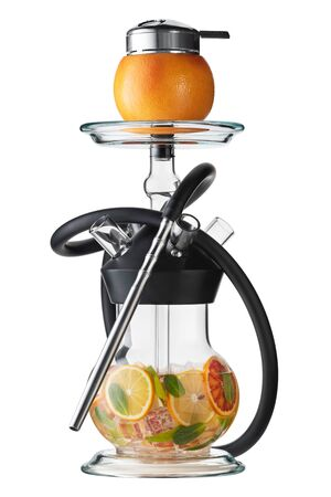 Trendy hookah with citrus fruits isolated on white. Grapefruit hookah bowl.