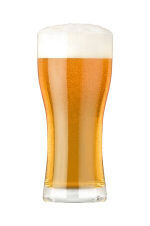 Glass of light beer with dense foam and bubbles isolated on white background 免版税图像