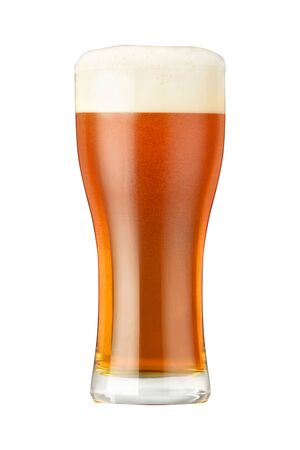 Glass of light beer with dense foam and bubbles isolated on white background Stock Photo