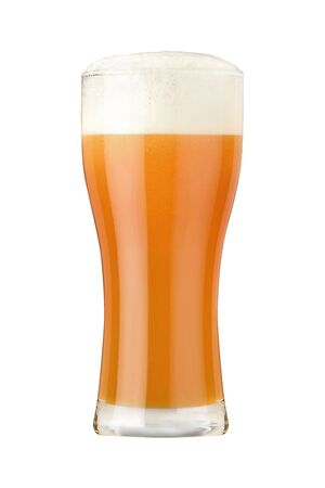 Glass of wheat beer with dense foam and bubbles isolated on white background 免版税图像