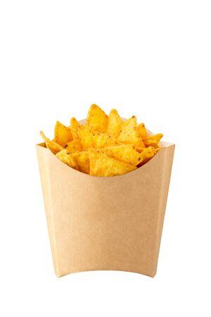 Nachos in kraft french fry box isolated on white