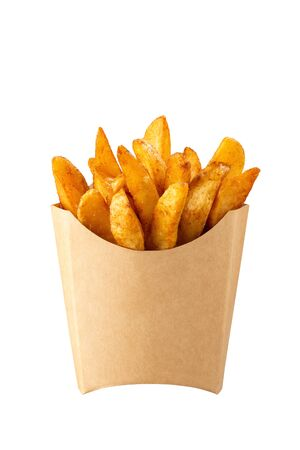 Mexican potatoes in kraft french fry box isolated on white