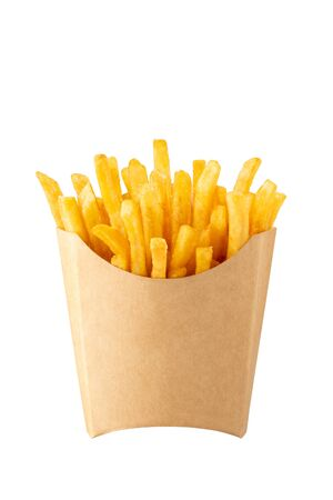 French fries in kraft french fry box isolated on white