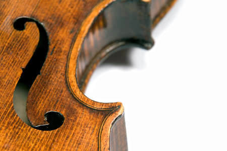 artsy: Closeup profile of side (ribs) of a beautiful 19th century violin (Pietro Floriani). Shot under studio lighting against white background.