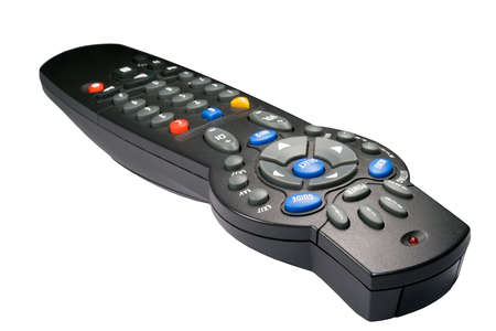 Universal remote controller isolated against white background. Stock Photo