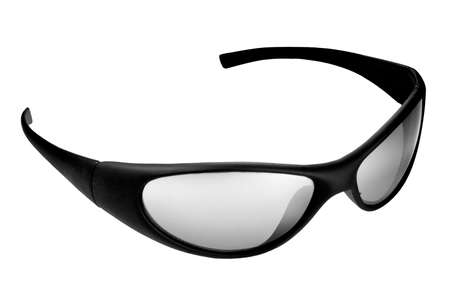 Closeup isolated shot of black and white shadessunglasses against a white background.