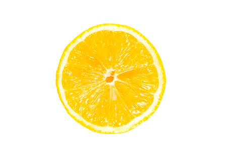Closeup of half a wet lemon, isolated against a white background.