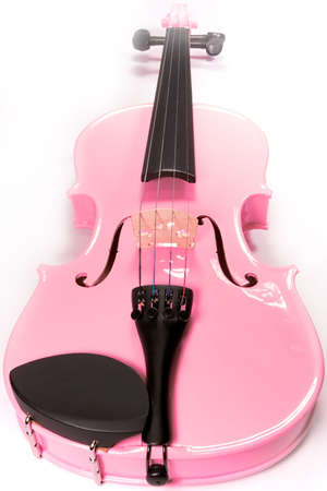 stood: Full on shot of a pink violin isolated against a white background (over white). Stock Photo