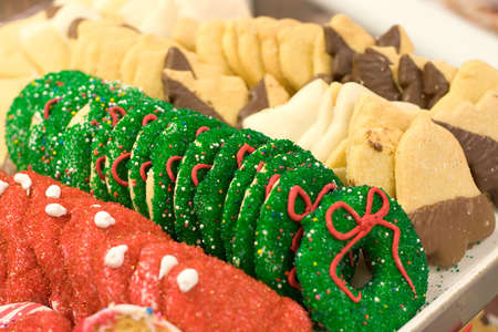 christmas baker's: Christmas cookies cooling and ready to go at the bakery.