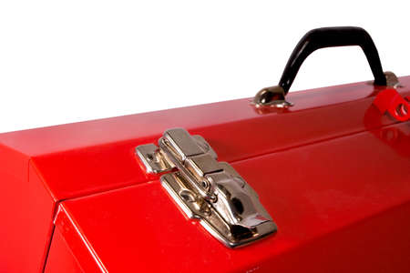 yourself: Closeup detail of the latch on a red toolbox, isolated against a white background. Stock Photo