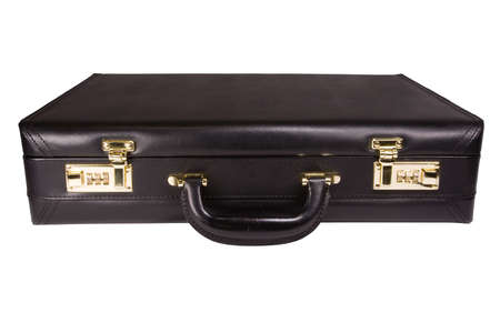 telecommute: An isolated black leather brief case shot against a white background.