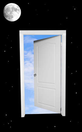 moon gate: A black and white door floating in space opens to blue skies beyond. Stock Photo