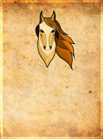 paddock: The image of the head of the horse on the brown background with the frame
