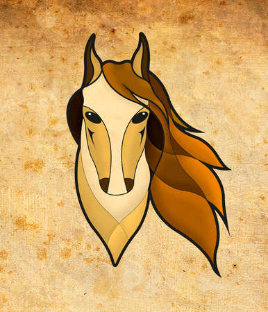paddock: The image of the head of the horse on the brown background Stock Photo
