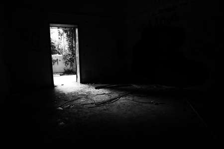 Abandoned psychiatric hospital - asylum - in Mombello, (Limbiate), Monza and Brianza, Lombardia, Italy. Black and White Editorial
