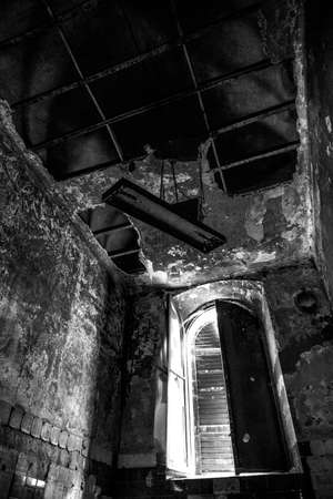 Abandoned psychiatric hospital - asylum - in Mombello, (Limbiate), Monza and Brianza, Lombardia, Italy. black and white