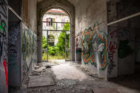Abandoned psychiatric clinic in Mombello, Italy