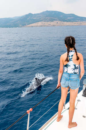 young teen standing on the deck of a sailboat with dolphin swimming along side