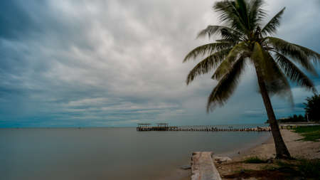 Palm tree and walkeway in front of Dilapidated old fishing dock collapsing into the sea in Pak Nam Pran on the Gulf of Thailand in Thailand