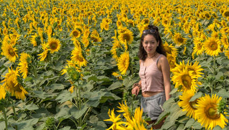 Young teen girl standing in field surrounded by sunflowers outside of Bologna Italy