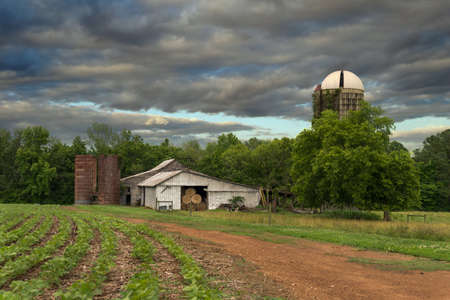 farm with silos and dirt roat with crops on stormy day with dark clouds