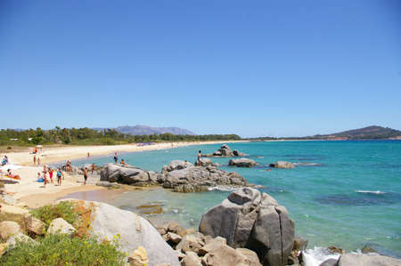 est: overview of sardinia beach near Bari Sardo Editorial