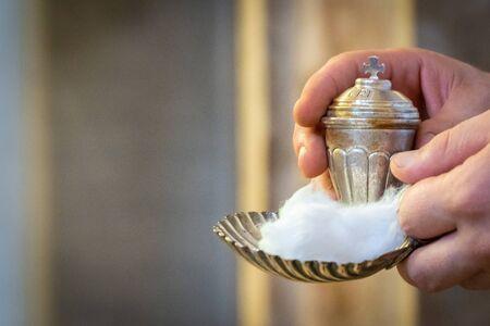 Holy oil jar for baptism or for the sick, jesus, god, christ