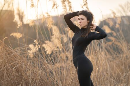 Sexy woman doing stretching and physical activity, sunrise, wheat and nature, meditation, yoga 写真素材
