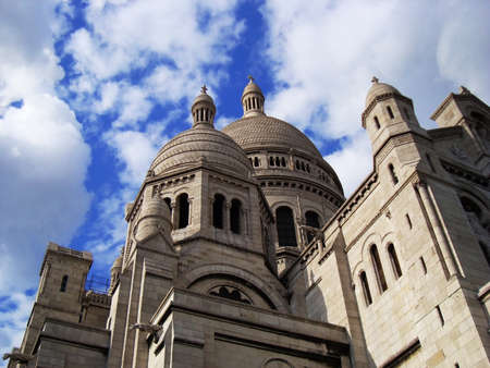 Spectacular view of the Sacre Coeur, Sacred Heart Church, in Paris photo