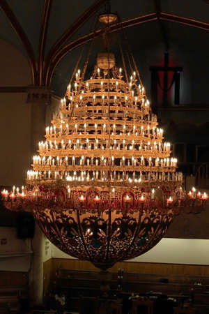 protestant: A big chandelier in a protestant church in New York City, USA