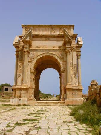 bombing: Ruins of Leptis Magna, Libya - Triumphal Arch