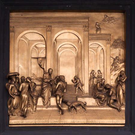jacob: Isaac, Esau, Jacob Bronze Bas Relief - Florence Baptistery