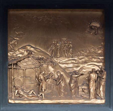 bas: Noah Bronze Bas Relief - Florence Baptistery