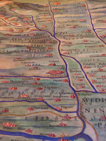 ancient map: Ancient Map of Piedmont with Vercelli Stock Photo