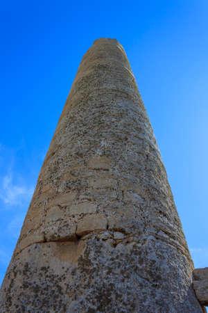 ruin: Ruin of Greek Temple Column - Sicily, Italy Stock Photo