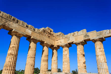 doric: Doric Colonnade of the Greek Temple E at Selinus in Selinunte - Sicily, Italy Stock Photo