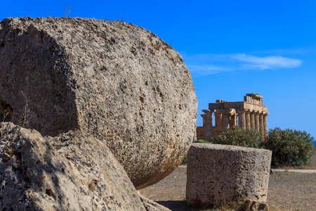glimpse: Glimpse of the Greek Temple E at Selinus in Selinunte - Sicily, Italy
