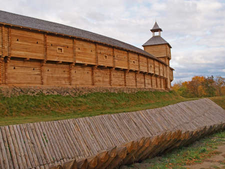 loopholes: The citadel played a huge role in protection of a city of Baturin. All is made of wood. Stock Photo