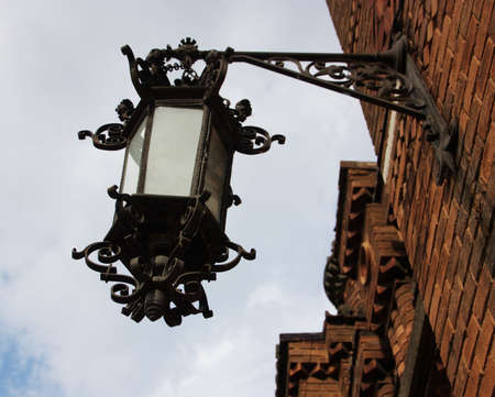 chernivtsi: This vintage lamp is attached to inner wall of Chernivtsi University