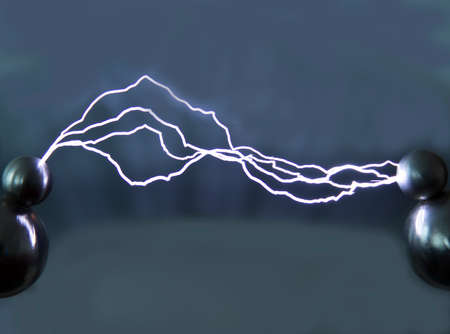 artificially: This artificially created by an electrical discharge in the air. Is used to observe the phenomenon. Stock Photo