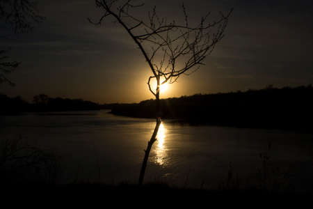 View of the sunset from the steep bank of the river.The course of the river erodes its steep bank.A tree creates a special impression of the observed phenomenon. Standard-Bild - 146194433