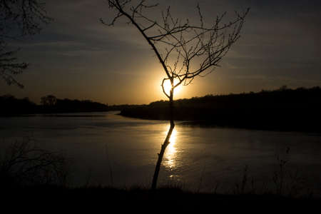 View of the sunset from the steep bank of the river.The course of the river erodes its steep bank.A tree creates a special impression of the observed phenomenon. Standard-Bild - 146194723