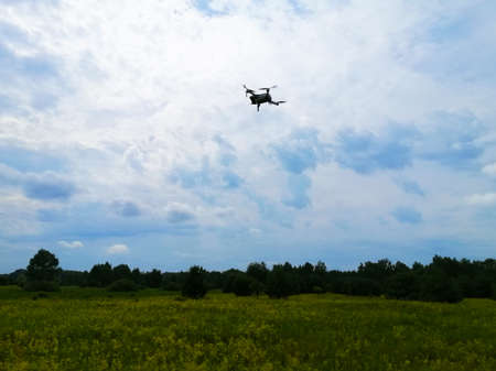 Quadcopter flight Aerial photography of the landscape by a quadrocopter camera. Standard-Bild
