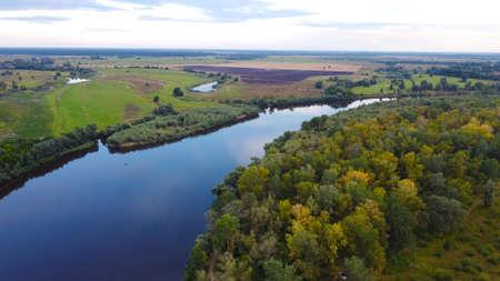 View of the Desna River near the city of Chernigov. The Desna River originates in Russia and flows into the Dnieper near Kiev.